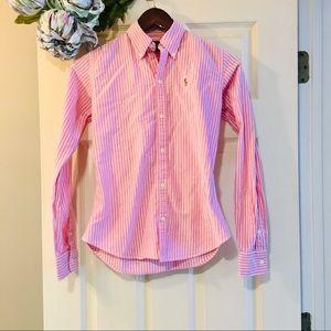 RALPH LAUREN Slim Fit Oxford - Pink Stripe - 0 XS